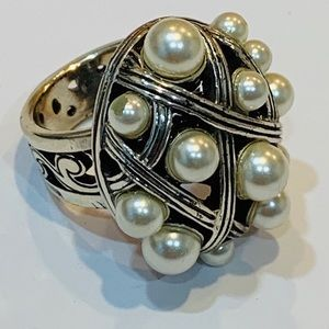 Brighton faux pearl large silver statement ring